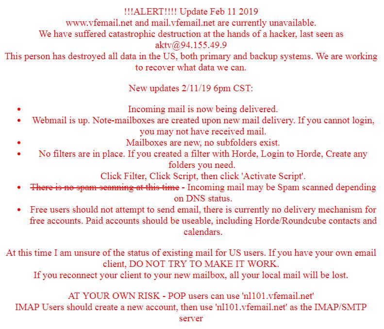 Хакеры уничтожили данные почтового сервиса VFEmail