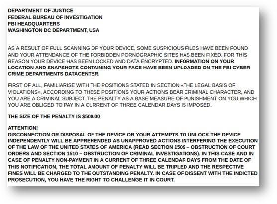 Check Point:вредонос Lucy от имени ФБР требует выкуп за хранение порнографических материалов