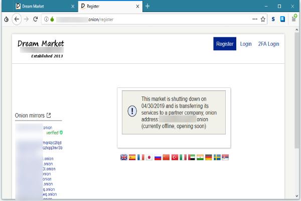 Администраторы крупнейшего черного рынка Dream Market объявили о закрытии площадки