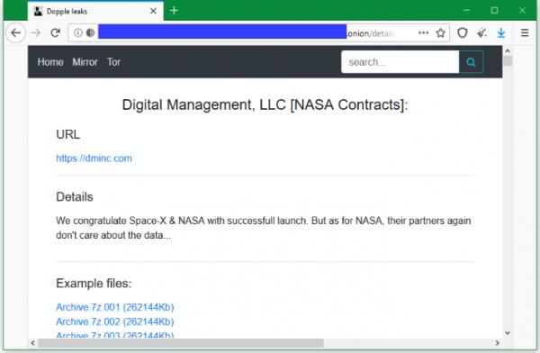 Операторы DopplePaymer заявили о взломе подрядчика NASA