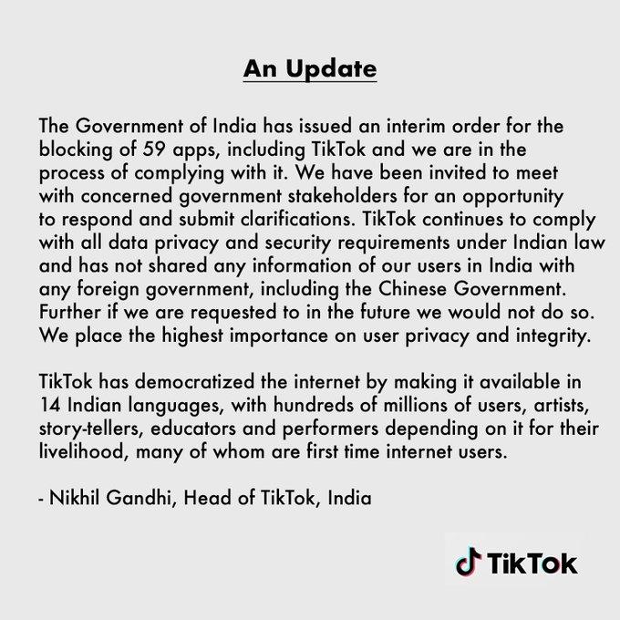 Власти Индии запретили TikTok иеще 58 китайских приложений