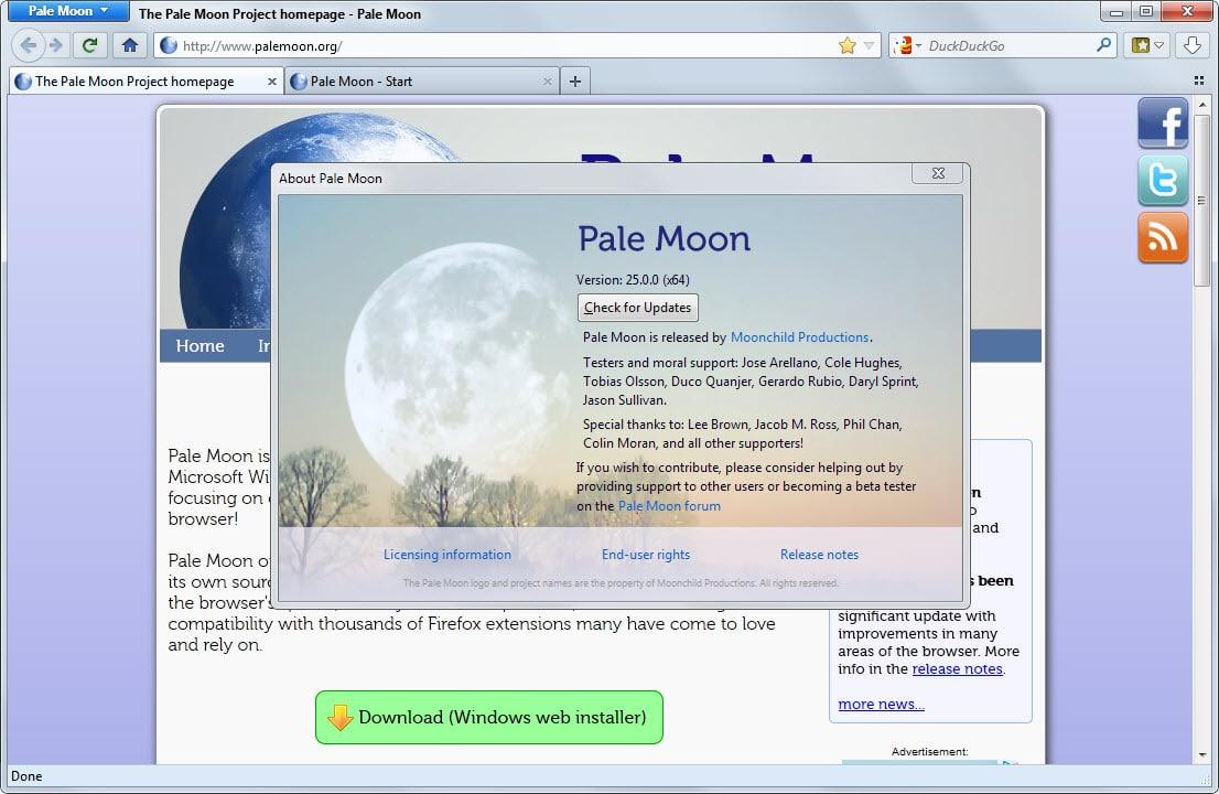 Взломанный сервер Pale Moon распространял зараженные версии браузера