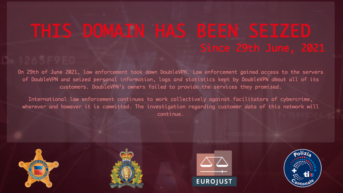 Правоохранители изъяли серверы сервиса двойного шифрования DoubleVPN