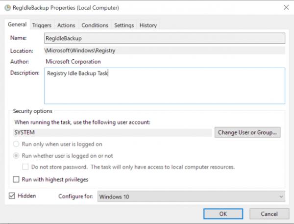Microsoft убрала из Windows 10 функцию сохранения бэкапов реестра