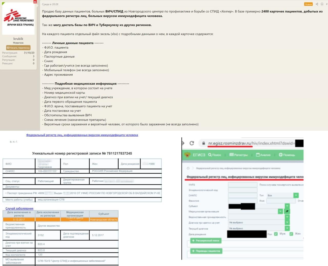 Хакер выставил на продажу данные пациентов Новгородской клиники