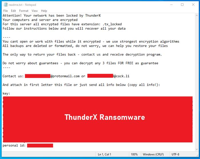 Жертвы вымогателя ThunderX теперь могут расшифровать свои файлы бесплатно